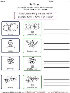 Suffixes: consonant y rule Worksheet