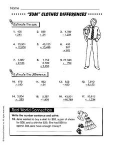 """Sum"" Clothes Differences Worksheet"