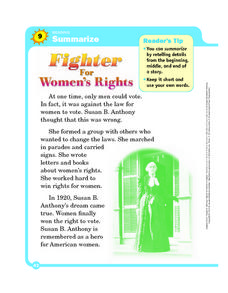Summarize: Fighter for Women's Rights Worksheet