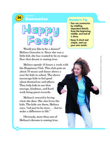 Summarize: Happy Feet Worksheet