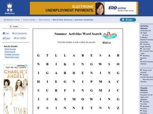 Summer Activities Word Search Worksheet