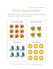 Summer Counting Worksheet Worksheet