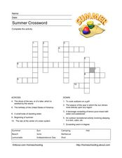 Summer Crossword Worksheet