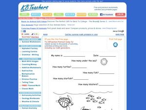 Summer Math Worksheet Worksheet