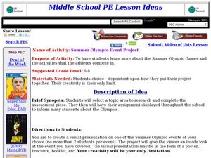 Summer Olympic Event Project Lesson Plan