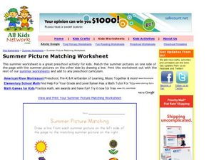 Summer Picture Matching Worksheet Worksheet