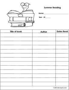 Summer Reading Log Worksheet