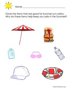 Summer Safety Items Lesson Plan