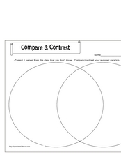 Summer Vacation: Compare and Contrast Worksheet