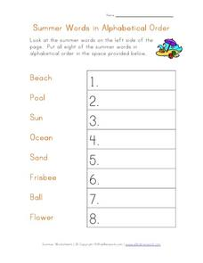 Summer Words in Alphabetical Order Worksheet