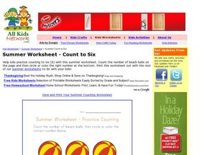 Summer Worksheet - Count to Six Worksheet