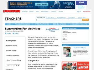 Summertime Fun Activities Lesson Plan