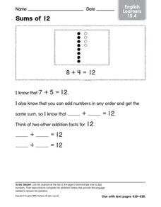 Sums of 12 ELL Activity Worksheet