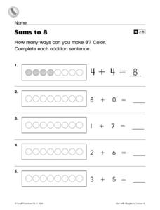 Sums to 8 Worksheet