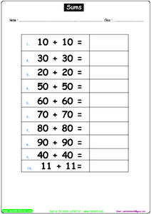 Sums With Tens Worksheet