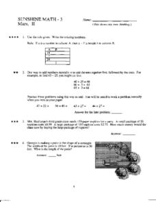math worksheet : sunshine math 3 mars ii 4th  5th grade worksheet  lesson pla  : Saxon Math 3 Worksheets