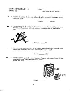 Sunshine Math- 3 Mars, III Worksheet