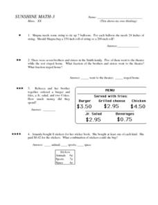 Sunshine Math - 3 Worksheet