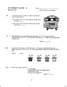 Sunshine Math- 4  Jupiter, IV Worksheet