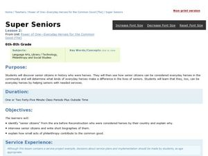 Super Seniors Lesson Plan