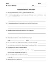 Worksheet Supersize Me Worksheet Answers super size me video questions 9th 12th grade worksheet lesson worksheet