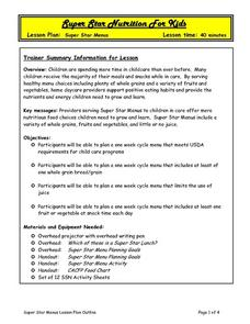 Super Star Menus Lesson Plan