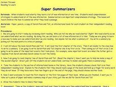 Super Summarizers Lesson Plan