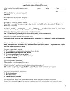 Superfund in Idaho, A Guided Worksheet Lesson Plan