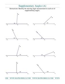 Supplementary Angles (A) Worksheet