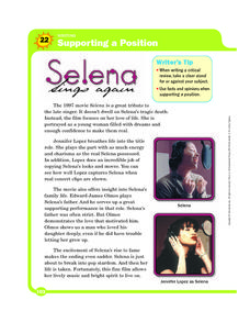 Supporting a Position: Selena Sings Again Worksheet
