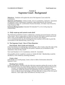 Supreme Court:  Background Lesson Plan