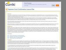 Supreme Court Confirmation Lesson Plan Lesson Plan