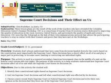 Supreme Court Decisions and Their Effect on Us Lesson Plan