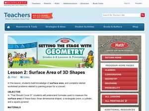 Surface Area of 3D Shapes Lesson Plan