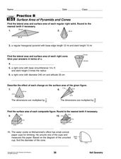 Surface Area of Pyramids and Cones Worksheet