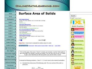 Surface Area of Solids Worksheet