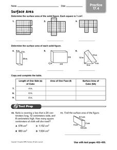 Surface Area practice 17.4 Worksheet