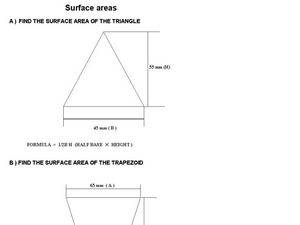 Surface Areas Worksheet