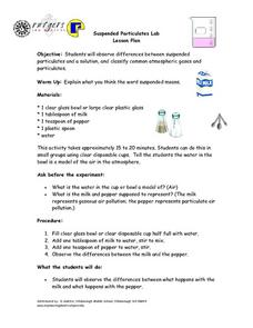 Suspended Particulates lab Lesson Plan