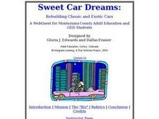 Sweet Car Dreams Lesson Plan