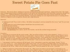 Sweet Potato Pie Goes Fast Lesson Plan