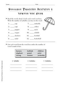 Syllable Practice Activity 1: Vowels You Hear Worksheet