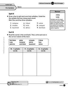 Syllable Types - VCe Syllables Worksheet