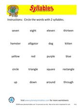 Syllables #2 Worksheet