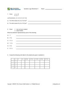 Symbolic Logic Worksheet