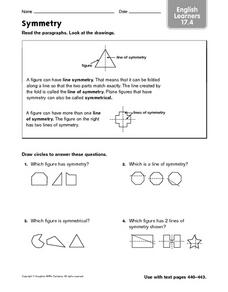 Symmetry - English Learners 17.4 Worksheet
