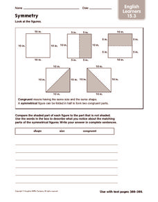 Symmetry: English Learners Worksheet