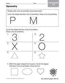 Symmetry: Homework Worksheet