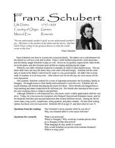 "Symphony No. 8 ""Unfinished"" by Franz Schubert Lesson Plan"