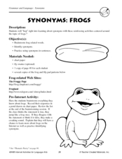 Synonyms: Frogs Lesson Plan